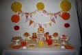 Tigger an Pooh are my two years to be baby girl beloved characters, so I thought she would be delighted to have them at her birthday party dessert table! I decided yellow, red and orange were gonna be the decoration colours. The banner designed by myself was coordinated with the cupcake wrappers and  toppers and so were the pompons. The cake had on top the numbers and  was sorrounded  with Tigger and Pooh´s faces made in pastiage. The pop corn cones also matched the banner! But what everybody loved the most were the tigger and Pohh butter cookies!!! To see more details contact me on facebook Floras CookiesCupcakes  https://www.facebook.com/photo.php?fbid=148037521938318&set=a.148037208605016.36930.100001962120299&type=1 party