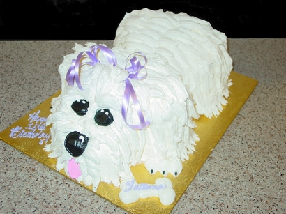 3 D Small Dog Birthday Cake1 Cappuccino Fondant Cake Duck With Mohawk Eaglescout ZebraStripes